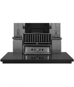 Polished granite fireplace hearth detail