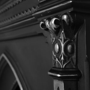 HEF055 Gothic Victorian cast iron fireplace leg detail