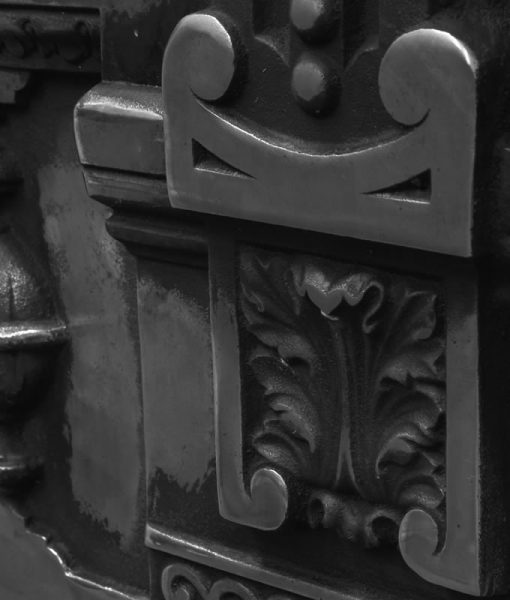 victorian cast iron combination fireplace detail
