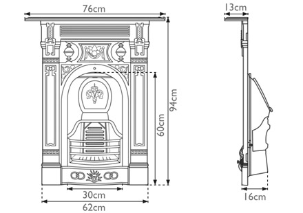 victorian small cast iron combination fireplace sizes