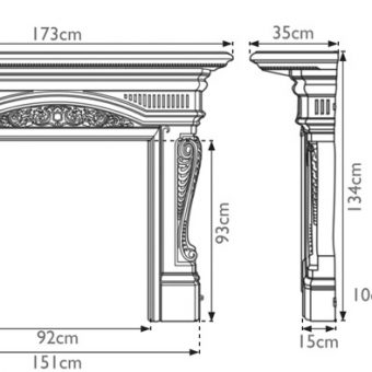 RX295 Carron Buckingham cast iron fire surround sizes