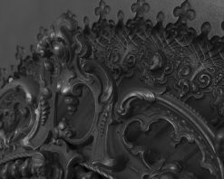 Rococo cast iron fireplace insert RX263 arch detail