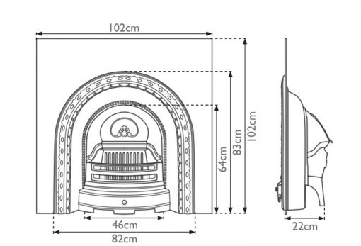 Scotia cast iron fireplace insert RX087 dimensions