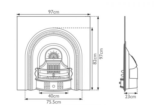 Beckingham cast iron fireplace sizes