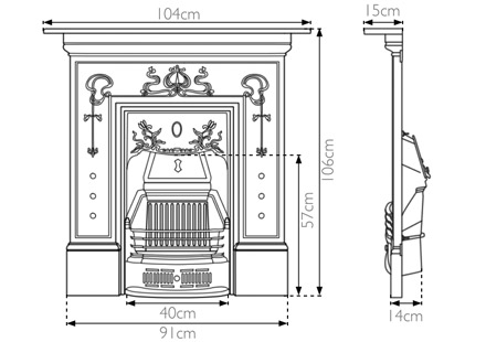 Bella Victorian cast iron fireplace sizes