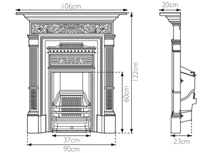 Hamden victorian cast iron fireplace RX163 sizes