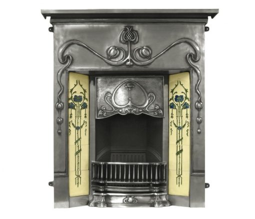 RX133 Carron Valentine fireplace cast iron Edwardian tiled polished