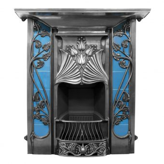 RX141 Toulouse fireplace tiled Victorian Art Nouveau fire by Carron polished finish