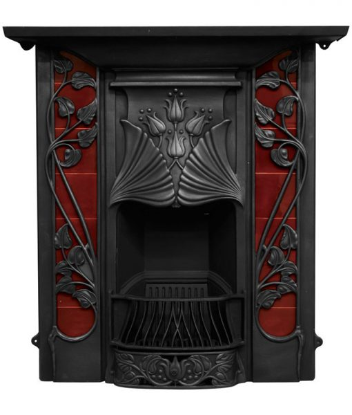 rx254 toulouse fireplace tiled victorian art nouveau fire by carron in black finish