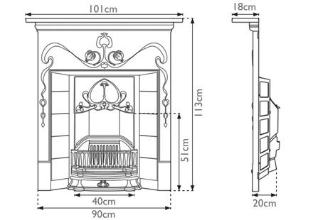 Valentine cast iron fireplace combination sizes