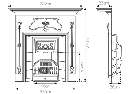 Verona fireplace Edwardian cast iron Carron fire sizes