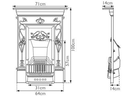 crocus victorian cast iron fireplace sizes