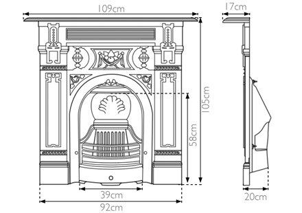 victorian cast iron combination fireplace sizes