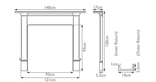 Alice cast iron fire surround mantelpiece sizes