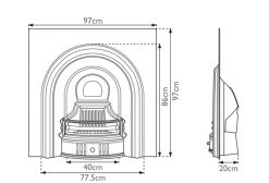 Coleby fireplace insert Carron cast iron sizes