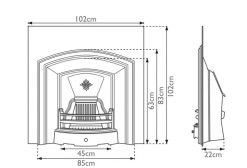 London Plate fireplace insert Carron cast iron sizes