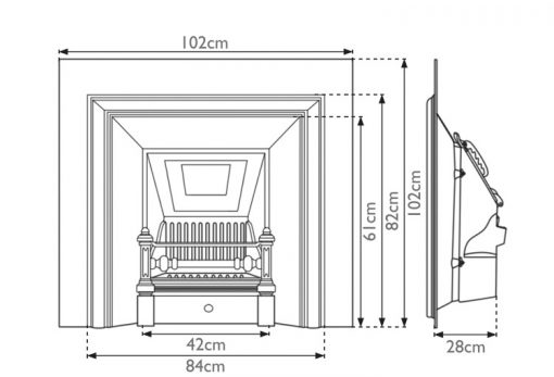 Royal fireplace insert Carron cast iron sizes