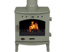 carron stove 4.7kW wood burning sage green enamel bhc343