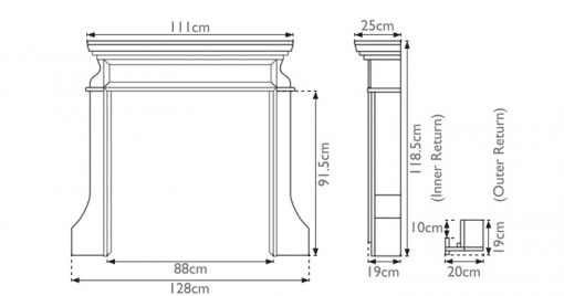 Clive fireplace surround sizes