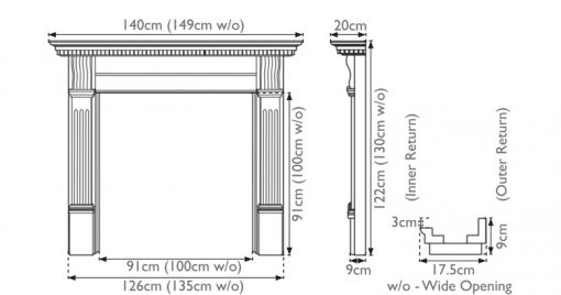 Corbel fireplace surround by Carron sizes