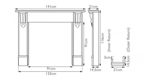 Edinburgh corbel fireplace surround sizes