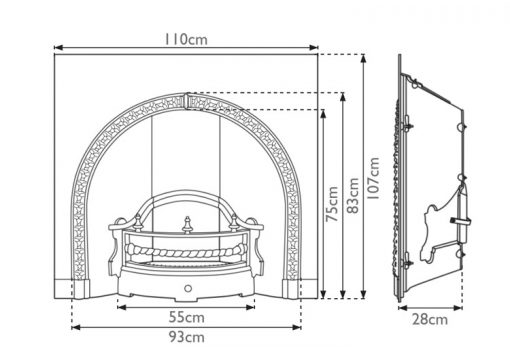 Kensington cast iron fireplace insert RX110 dimensions