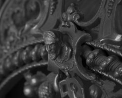 Rococo cast iron fireplace insert RX263 detail