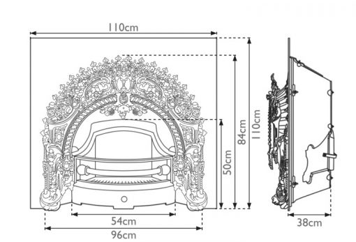 Rococo cast iron fireplace insert RX263 dimensions