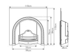 Westminster cast iron fireplace insert RX114 dimensions